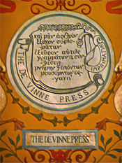 The De Vinne Press printers mark.    Theodore Low De Vinne   American printer and author on typography